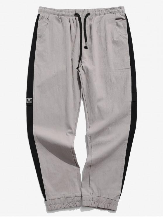 womens Applique Color Blocking Panel Casual Jogger Pants - GRAY L