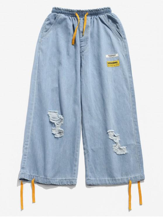 sale Color Block Spliced Pocket Ripped Wide Leg Jeans - BLUE L