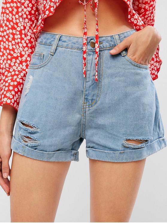 latest Rolled Hem Distressed Pocket Denim Shorts - JEANS BLUE S