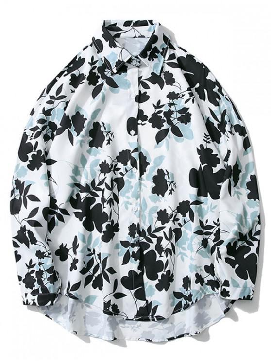 lady Floral Print High Low Drop Shoulder Casual Shirt - WHITE 2XL