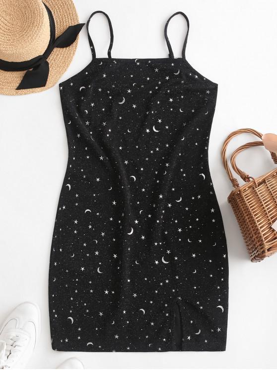 hot ZAFUL Moon and Star Metallic Thread Cami Slit Dress - BLACK L