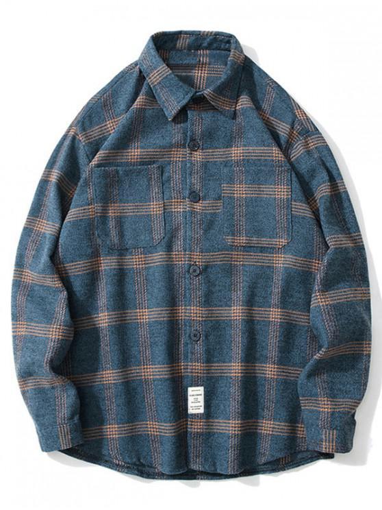 ladies Chest Pocket Plaid Print Long Sleeve Button Shirt - BLUE GRAY 2XL