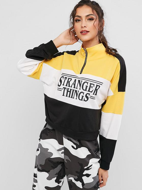 online ZAFUL Color Block Pull Ring Contrast Graphic Sweatshirt - MULTI XL