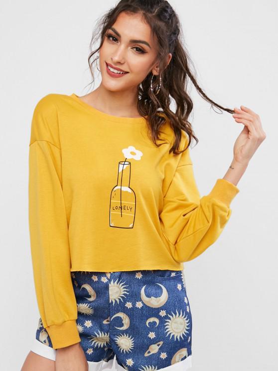 ZAFUL Flower Graphic Raw Cut Drop Shoulder Sweatshirt - نحلة صفراء L