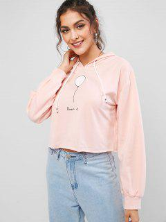 ZAFUL Balloon Dream Up Graphic Cropped Hoodie - Pig Pink Xl