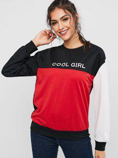 ZAFUL Cool Mädchen Grafik Farbblock Sweatshirt - Multi L