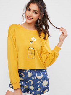 ZAFUL Flower Graphic Raw Cut Drop Shoulder Sweatshirt - Bee Yellow Xl