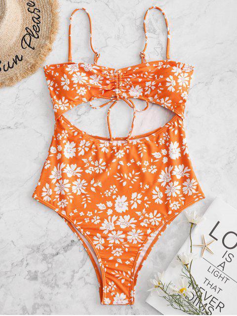 best ZAFUL Cut Out Floral High Cut One-piece Swimsuit - PUMPKIN ORANGE M Mobile