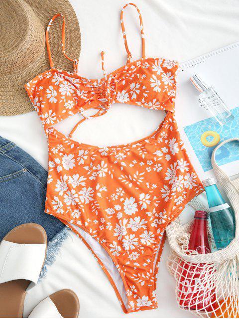 ZAFUL Cut Out Floral High Cut traje de baño de una pieza - Naranja de Calabaza  L Mobile