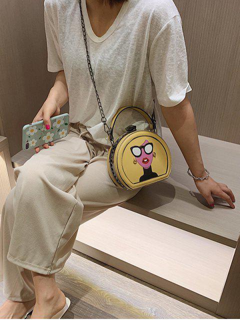 Mini sac fourre-tout en cuir graphique - Jaune  Mobile