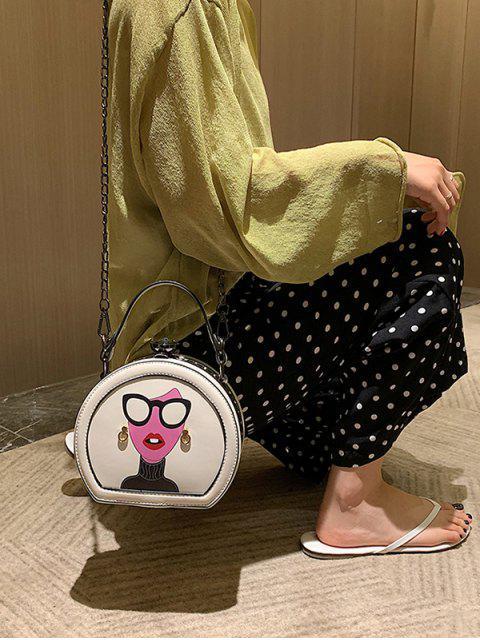 Mini sac fourre-tout en cuir graphique - Blanc  Mobile