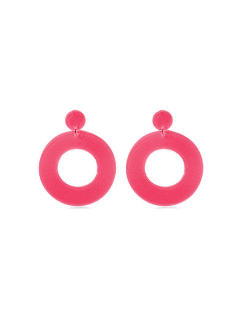 Boucles d'Oreilles Néon Cercle Pendant - Rouge Rose  Mobile