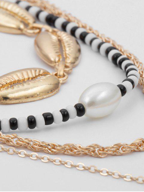 Collier Ras-du-cou Perlé Coquillage Pendant Multicouche - Or  Mobile