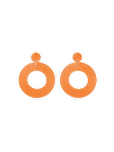 Boucles d'Oreilles Néon Cercle Pendant - Orange  Mobile