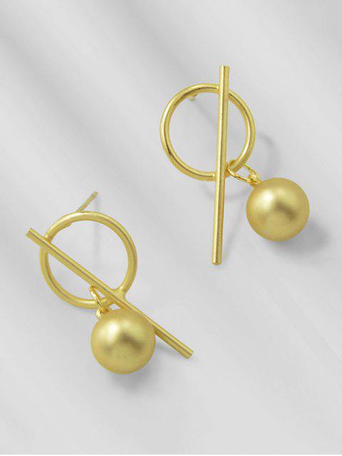 Boucles d'Oreille Cercle Balle Barre avec Clou - Or  Mobile