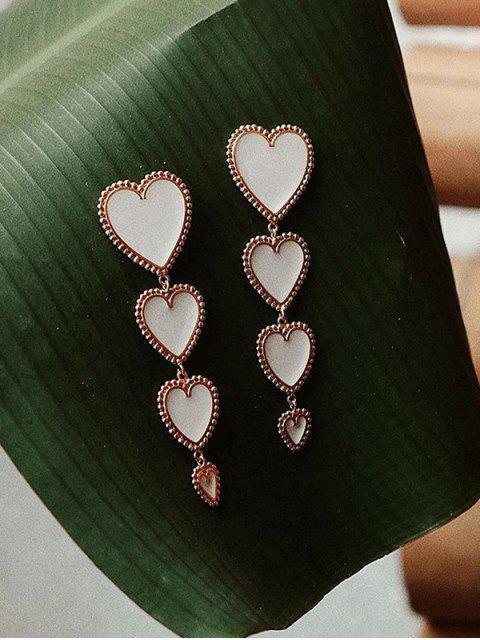 Boucles d'Preilles Pendantes Longues Cœur - Blanc  Mobile