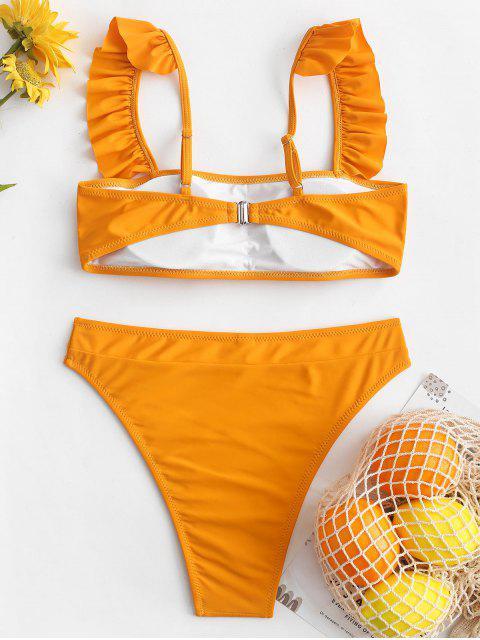 ZAFUL Maillot de Bain Bikini Coupe Haute à Volants à Col Carré - Jaune d'Abeille M Mobile