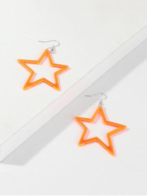 Boucles d'Oreilles Néon Etoile Pendant - Orange  Mobile