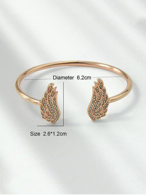Bracelet Ouvert Aile d'Ange avec Strass - Or de Rose  Mobile