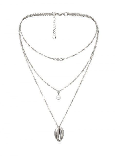 Collier Superposé Coquille Pendant en Fausse Perle - Argent  Mobile