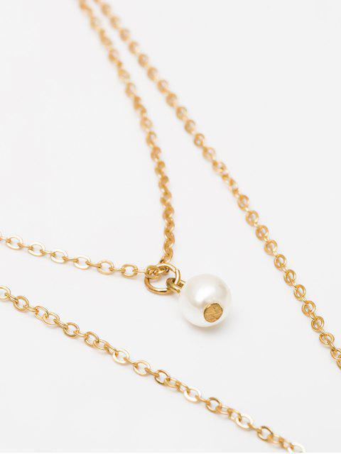 Collier Superposé Coquille Pendant en Fausse Perle - Or  Mobile