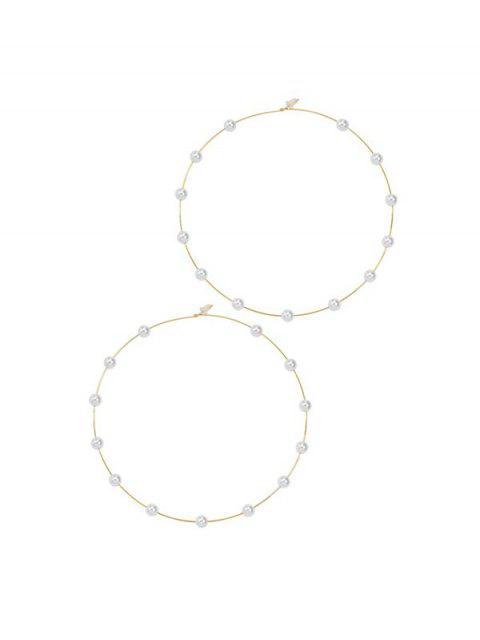 Boucles d'Oreilles au Crochet Décorées de Fausse Perle - Or  Mobile