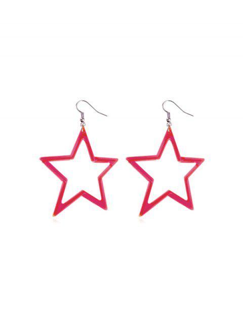 Boucles d'Oreilles Néon Etoile Pendant - Rouge Rose  Mobile