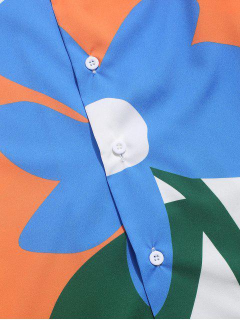 Chemise Boutonnée Fleur Imprimée en Blocs de Couleurs - Multi-A XL Mobile