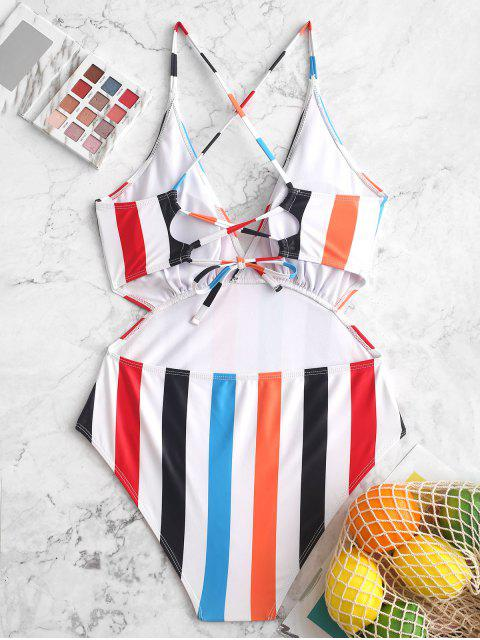 online ZAFUL Striped Criss Cross Plunge One-piece Cut Out Swimsuit - MULTI-A XL Mobile