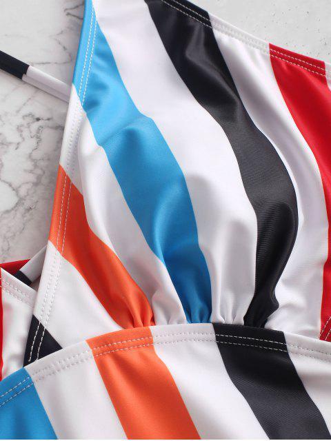 ZAFUL Полосатый принт Перекрестные шнурки С вырезом Слитный Купальник - Многоцветный-A XL Mobile