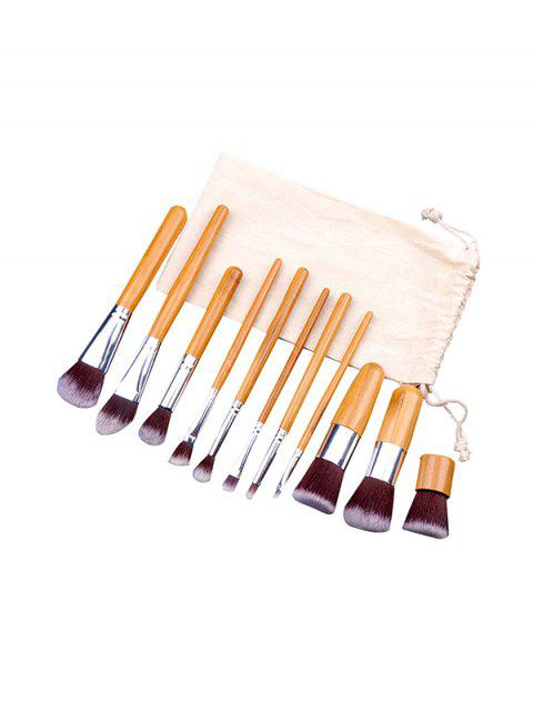 hot 11PCS Makeup Brush Set and Sack - BRIGHT YELLOW  Mobile