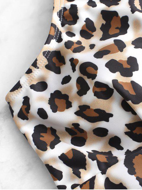 ZAFUL С бантом С леопардовым принтом Слитный Купальник - Коричневый медведь S Mobile