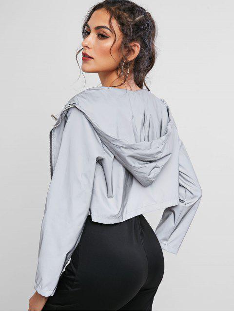 womens Crop Hooded Windbreaker Reflective Jacket - GRAY L Mobile