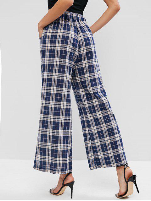 Pantalones de pierna ancha a cuadros de cintura alta - Multicolor-A S Mobile