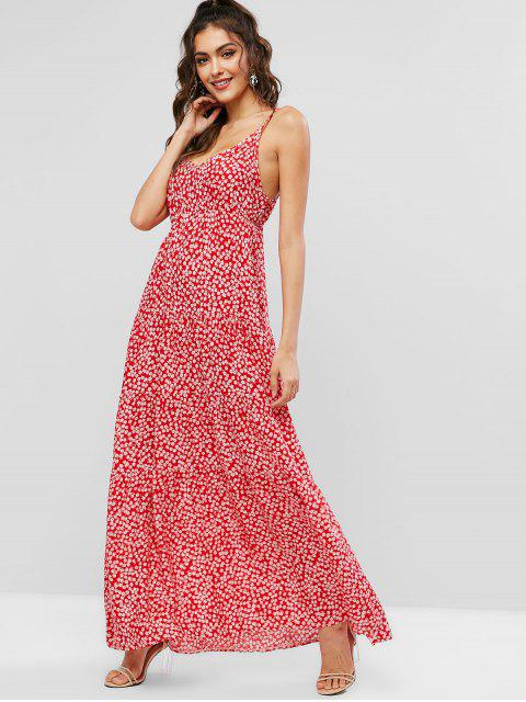 women Ditsy Floral Cami Maxi Dress - RED M Mobile