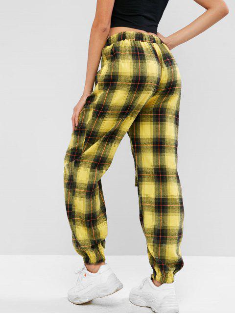 ZAFUL Flap Pocket Plaid Jogger pantalones - Multicolor S Mobile
