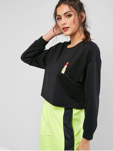 women's ZAFUL Lip Embroidered Drop Shoulder Crop Sweatshirt - BLACK XL Mobile