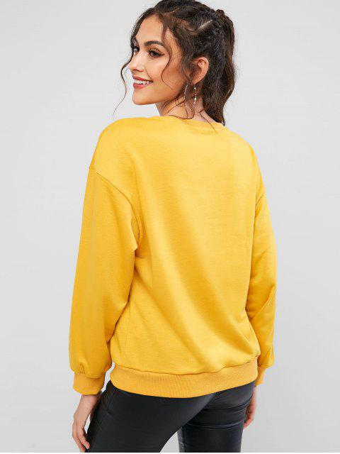 latest ZAFUL Pineapple Embroidered Drop Shoulder Ribbed Hem Sweatshirt - BEE YELLOW L Mobile