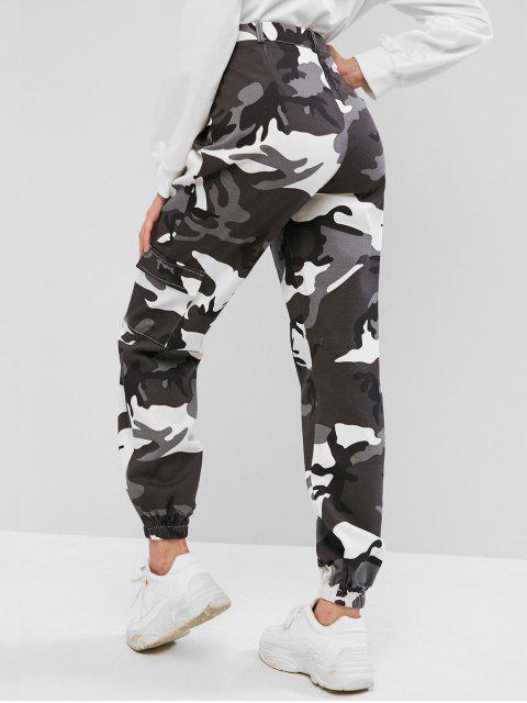 ZAFUL Camouflage Pocket Zipper Fly Jogger Pantalones - Multicolor M Mobile