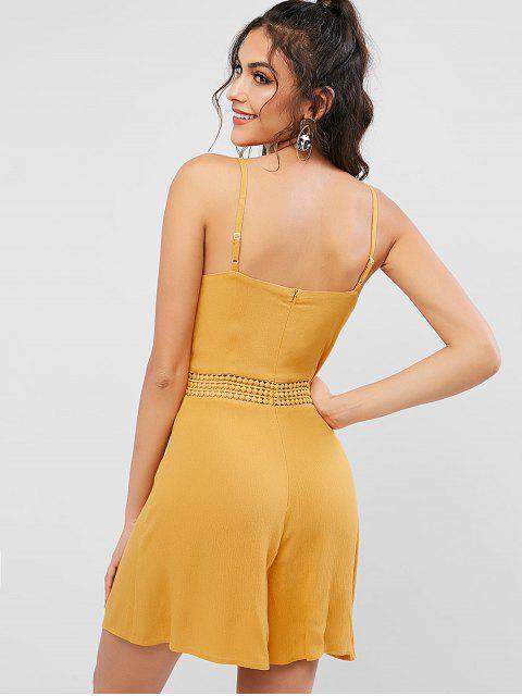 women's ZAFUL Back Zipper Lace Trim Cami Romper - BEE YELLOW L Mobile