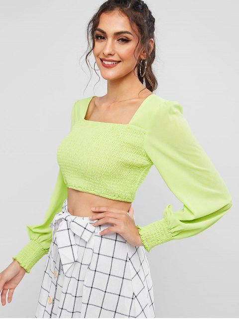 ladies ZAFUL Neon Smocked Square Neck Crop Blouse - MINT GREEN XL Mobile