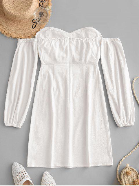 lady ZAFUL Cut Out Off Shoulder Short Long Sleeve Dress - MILK WHITE L Mobile
