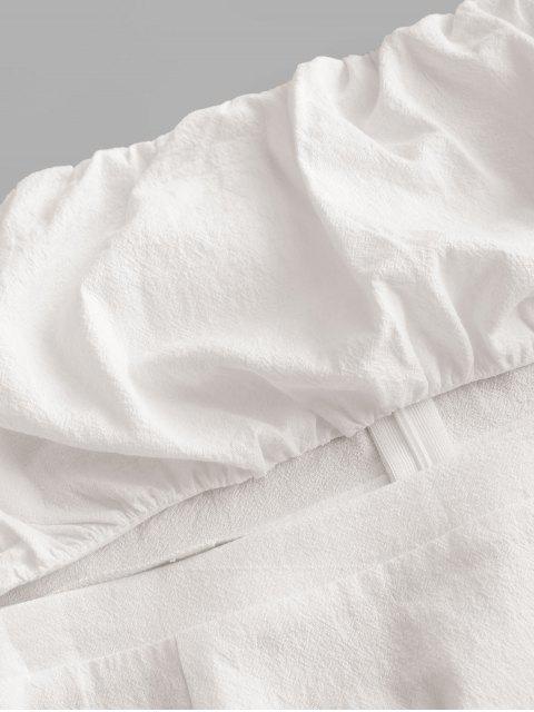 ZAFUL Robe Courte Découpée à Epaule Dénudée à Manches Longues - Blanc Lait L Mobile