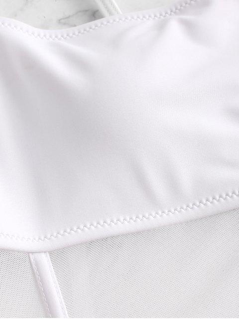 ZAFUL Maillot de Bain Panneau en Maille Transparente à Coupe Haute Une-Pièce - Blanc M Mobile
