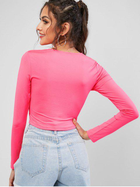 lady Cinched Cut Out Neon Crop Tee - WATERMELON PINK M Mobile