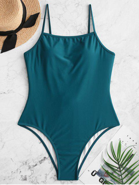 hot ZAFUL Lace Up Backless One-piece Swimsuit - PEACOCK BLUE M Mobile