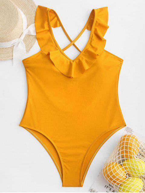 ZAFUL Criss Cross Ruffled Plunge traje de baño de una pieza - Amarilla de Abeja  XL Mobile
