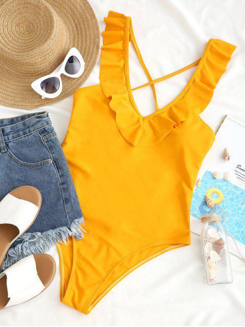 ZAFUL Criss Cross Ruffled Plunge traje de baño de una pieza - Amarilla de Abeja  S Mobile