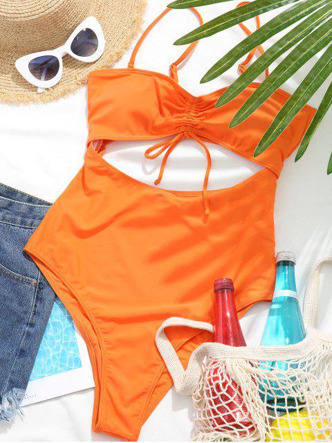 sale ZAFUL Cinched Cutout High Cut One-piece Swimsuit - PUMPKIN ORANGE L Mobile