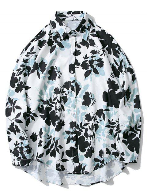 womens Floral Print High Low Drop Shoulder Casual Shirt - WHITE M Mobile